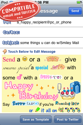 Smiley Mail ☆ (Customizable Email and Tweets) Screenshot