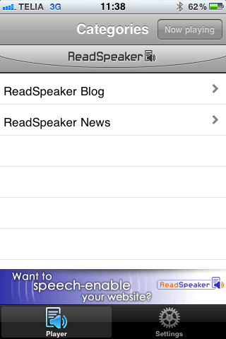 ReadSpeaker audioMobile Screenshot