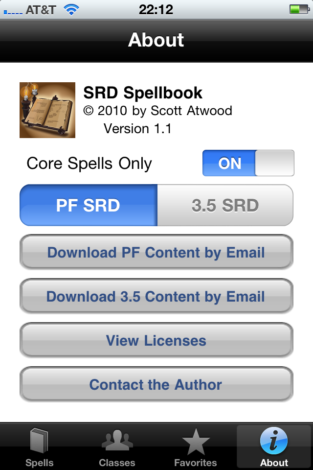 SRD Spellbook Screenshot