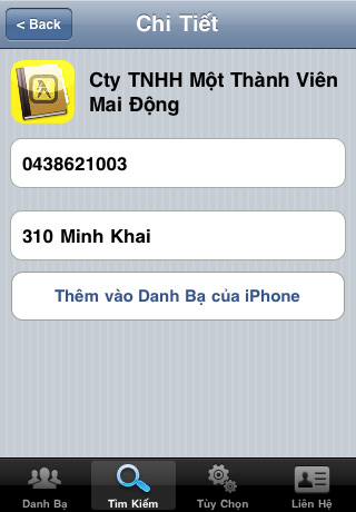 Vietnam Contacts Plus Standard Screenshot