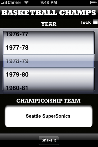 Basketball Champs by Year Screenshot