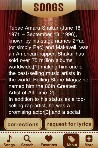 2Pac Lyrics Studio Screenshot