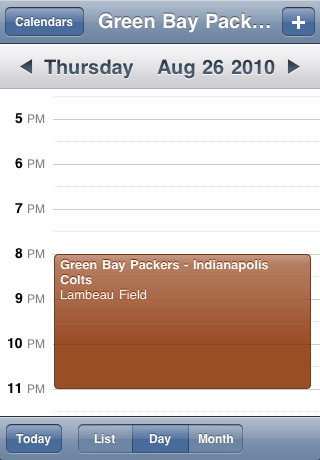 Green Bay Packers Speelschema Seizoen 2010 Screenshot