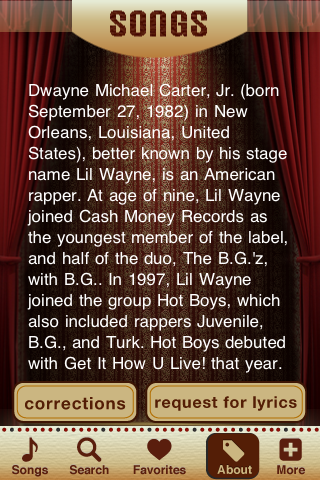 Lil Wayne Lyrics Studio Screenshot