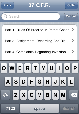 C.F.R. Title 37: Patents, Trademarks, and Copyrights Screenshot