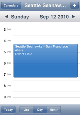 Seattle Seahawks Speelschema Seizoen 2010 Screenshot