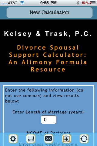 Alimony Calculator Screenshot
