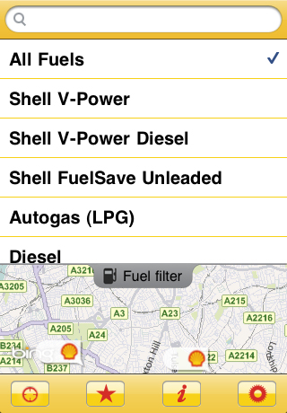 Shell Station Locator Screenshot
