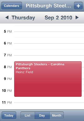 Pittsburgh Steelers Speelschema Seizoen 2010 Screenshot