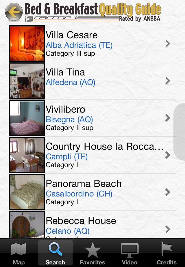 B&B Italian Best Quality Guide, ANBBA Bed & Breakfast Italy Screenshot