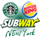 New York Starbucks Subway Burger King Icon