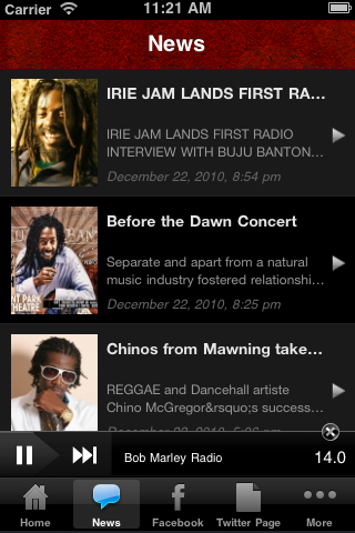 Bob Marley Radio Screenshot