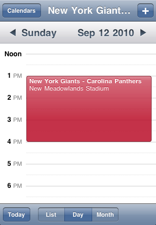 New York Giants Speelschema Seizoen 2010 Screenshot