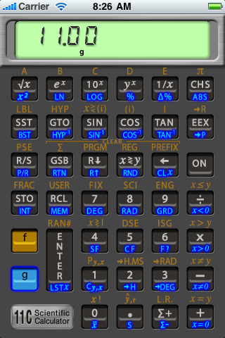 11C Scientific RPN Calculator Screenshot