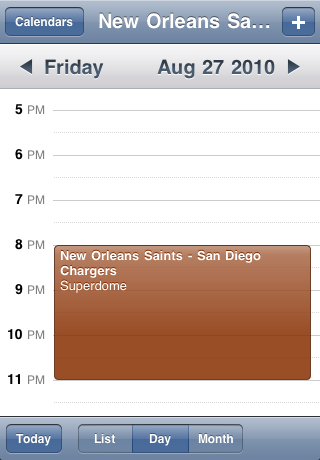 New Orleans Saints Speelschema Seizoen 2010 Screenshot