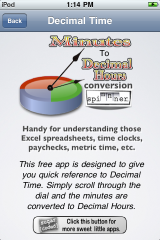 Minutes to Decimal Hours Conversion Spinnner Screenshot